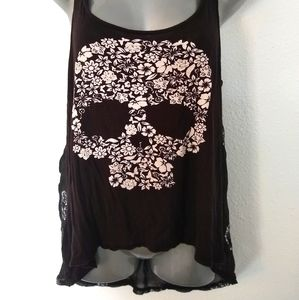 Sean's Den floral skull tank Goth gothic